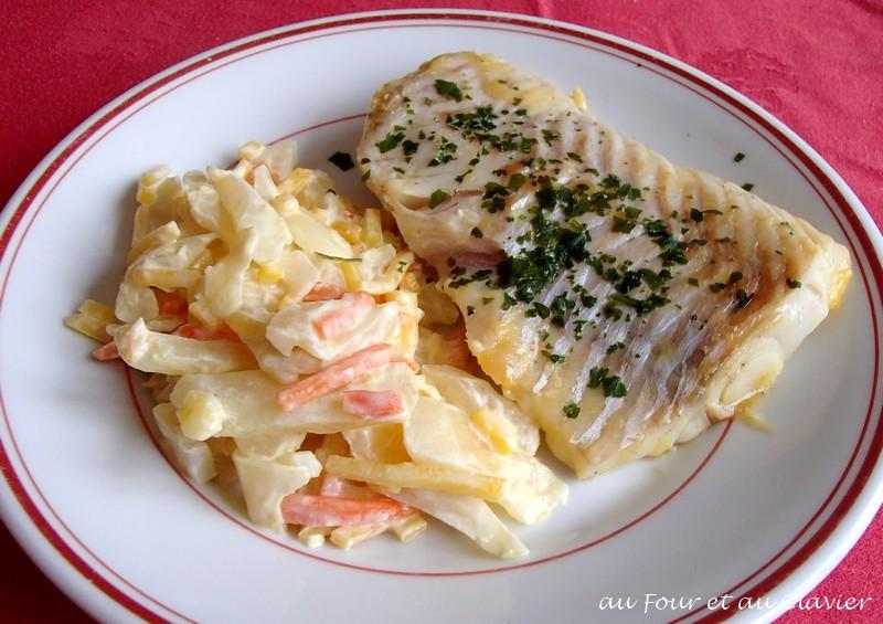 Pavé de cabillaud avec carottes et fenouil