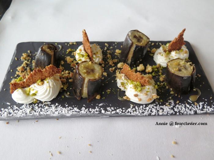 Table de la Chèze : Banane rôtie, crème vanille