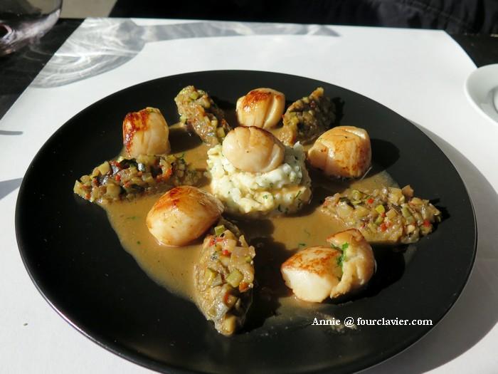 Table de la Chèze : st Jacques, petits légumes