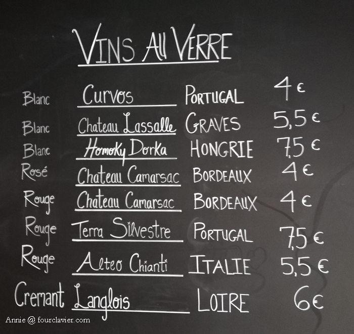 liste des vins au verre du Garage Bar